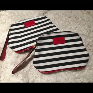 2 Small Striped SEPHORA Cosmetic Bags NEW